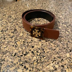 Tory Burch Brown Belt with Tortoise Logo